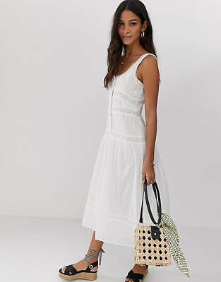 AU25 • Buy  ASOS White Cotton Midi Dress With Lace Inserts Size UK14 - AS NEW