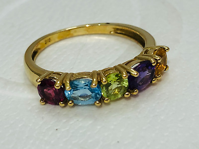 AU199 • Buy Multi Coloured Gemstone 9 Ct Gold Ring Size N
