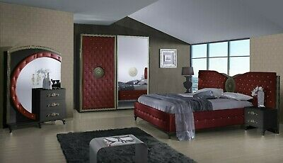 £899 • Buy Beautiful Italian Bedroom Set With Sliding Wardrobe With Soft Leather Crystals