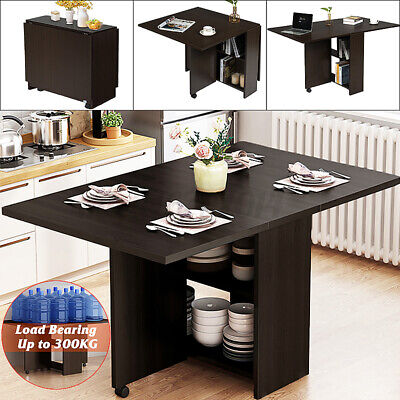 £67.33 • Buy Mobile Dining Table Folding Drop Leaf W/ 2 Wheels Storage Shleves Up To 6 Person