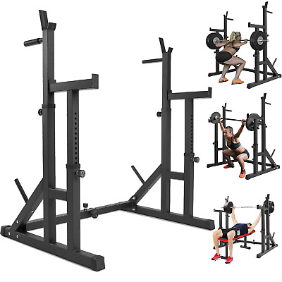 $ CDN223 • Buy Adjustable Squat Rack Weight Lifting Barbell Stand Bench Press Rack Fitness Gym
