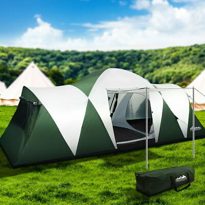 AU220.60 • Buy Weisshorn Family Camping Tent 12 Person Hiking Beach Tents (3 Rooms) Green