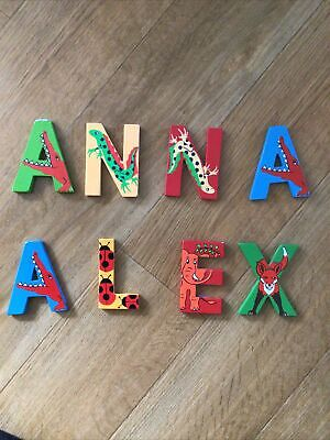 £3 • Buy Colourful, Animal Themed Wooden Letters, Names Anna And Alex,choose One Name