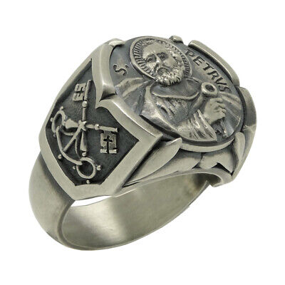 $132 • Buy Cross Of Saint St. Peter Apostle Pope Sterling Silver 925 Mens Ring