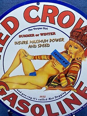 $ CDN223.71 • Buy 1932 RED CROWN PORCELAIN SIGN GAS OIL Request Uncensored Pictures