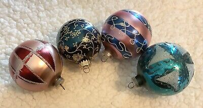 """$ CDN37.49 • Buy Lot 4 Vintage 3"""" Ball Glass Holiday Christmas Ornaments West Germany"""