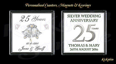 £2.99 • Buy Silver Wedding 25th Anniversary Personalised Drinks Coaster Anniversary Gift