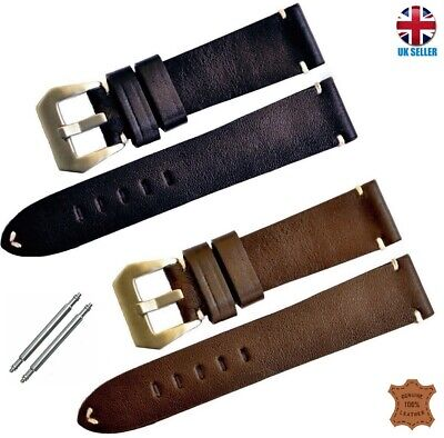 £6.99 • Buy Vintage Militry Handmade Real Leather Watch Strap Band Black Brown 18-20-22-24
