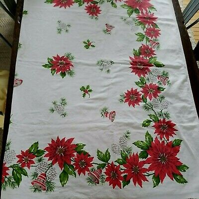 $ CDN40.03 • Buy Vintage Christmas Tablecloth ~ Poinsettia Holly Bells Pinecones ~ 49 X 61