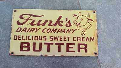 $ CDN1.24 • Buy Porcelain Funk's Dairy Company Enamel Sign SIZE 10  X 5.5  Inches