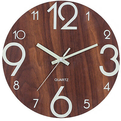 AU19.99 • Buy 12''/30cm Glow In Dark Wall Clock Luminous Quartz Wooden Non Ticking Home Decor