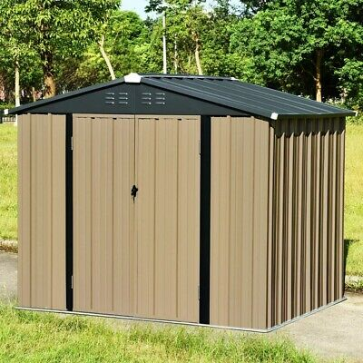 New Metal Garden Shed 6X8FT Gabled Roof Yard Storage Tool Box With Lock Lockable • 338.99£