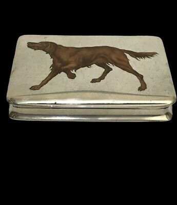 £580 • Buy Continental 900 Silver & Enamel Box Featuring A Red Setter Dog