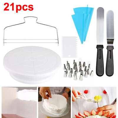 £29.81 • Buy Cake Decorating Kit Supplies With Cake Turntable Cake Stand 12 Piping Tips AT