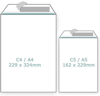 £27.99 • Buy Plain White Envelopes Peel And Seal C4/A4 C5/A5 Postal Large Letter High Quality