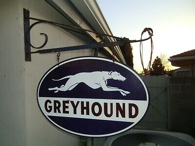 $ CDN124.98 • Buy Greyhound Bus Station Double Sided Oval Porcelain Sign