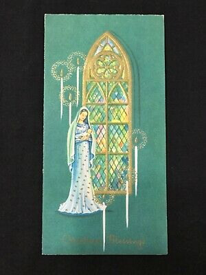 $ CDN6.24 • Buy Vintage Mod Christmas Greeting Card Art Religious Stained Glass Mary Baby Jesus