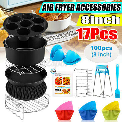 AU25.69 • Buy 127Pcs 8 Inch Air Fryer Accessories Frying Rack Cage Dish Pan Rack Tray Pot Cake