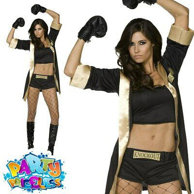 £33.99 • Buy Ladies Fever Knockout Costume Sexy Boxer Womens Fancy Dress Outfit 8 - 14