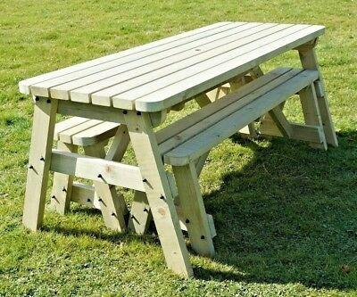 £229.94 • Buy V-TORIA Compact Rounded Picnic Table Bench Set - 3FT To 8FT - Garden Furniture