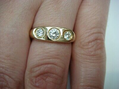 $750 • Buy 14 K. Yellow Gold Gypsy 3 Diamond Ladies Ring 0.50 Carat Solid Back Size 6