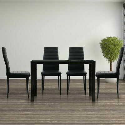 AU253.70 • Buy Artiss Set Of 5 Dining Table Chairs Set Glass Leather Seat 4 Seater Chair Black