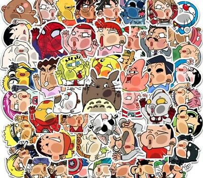 £6.60 • Buy 50 Funny Stickers For Crashing Glass Cartoon Characters, Helmets, Cars, Suitcase