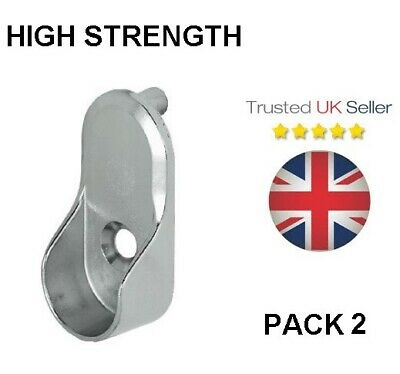 £4.50 • Buy Wardrobe Rail End Support Brackets Metal Silver Oval Clothes Hanging Pole Hanger