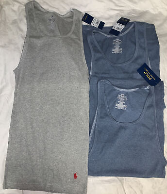 £27.20 • Buy Polo Ralph Lauren 3-Pack Mens Cotton Ribbed Classic Fit Tank Top Gray/white 1967