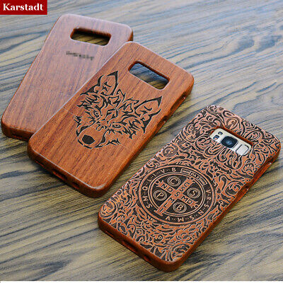 AU17.84 • Buy Natural Carved Bamboo Wood Case Combo Cover For Samsung Galaxy S9/S8+Plus/S7