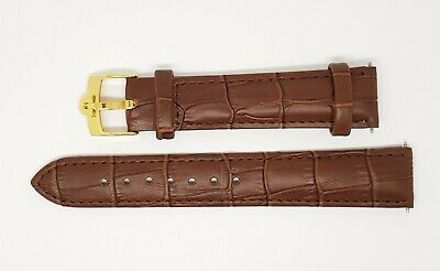 New 18mm Brown Genuine Leather Watch Strap / Gold Plated Buckle For Omega • 24.99£