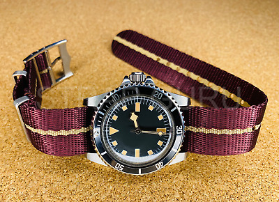£55 • Buy Automatic Vintage Retro Look 40mm Submariner Snowflake Homage Watch Red Fabric