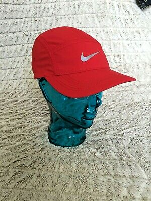 AU82.63 • Buy Red Nike Dri Fit AW84 Running 5 Panel Hat Cap Adjustable Run Reflective Swoosh