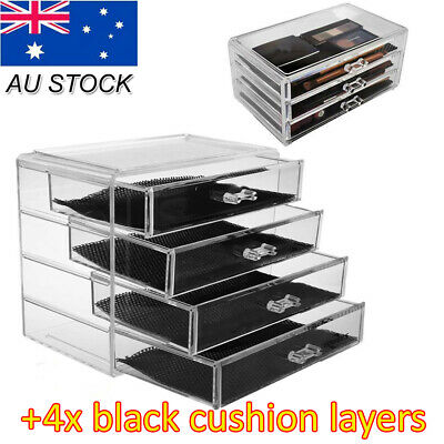 AU19.99 • Buy X1 Cosmetic Makeup Organizer Storage Jewellery Box Clear Acrylic Case 4 Drawers