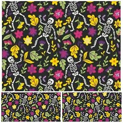 £3.85 • Buy Polycotton Fabric Craft BLACK SKELETON FLORAL Metre Material Special Offer