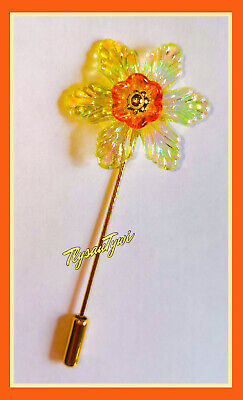 £3.99 • Buy Iridescent  Daffodil Pin Brooch....Goldtone Safety Pin.