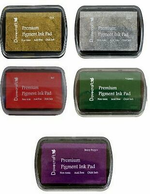 £9.95 • Buy Set Of 5 TRADITIONAL CHRISTMAS Pigment INK PADS Rubber Stamping Colours