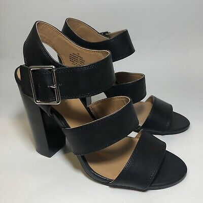 $ CDN36.38 • Buy Nine West Women's Size 7 Sandal Black Ankle Strap Block Heel Faux Leather