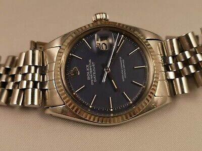 $ CDN7032.83 • Buy Rolex Datejust Perpetual Ref.1601 Blue Dial Bezel White Gold 18 Kt Automatic