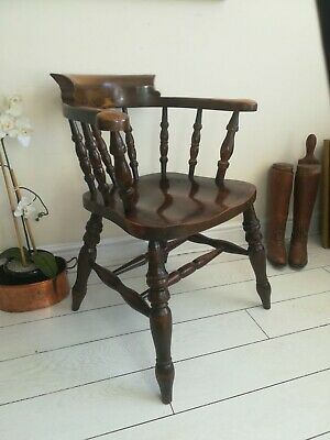 £275 • Buy Captains Bow Seat Smokers Chair Oak Antique