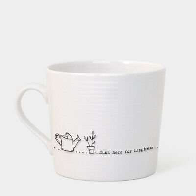 £12.95 • Buy East Of India Wobbly Porcelain Mug, Dunk Here For Happiness (5910)