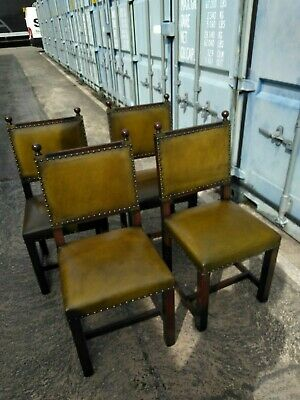 £190 • Buy 4 Dining Chairs, Hardwood With Leather Upholstery, Second Hand