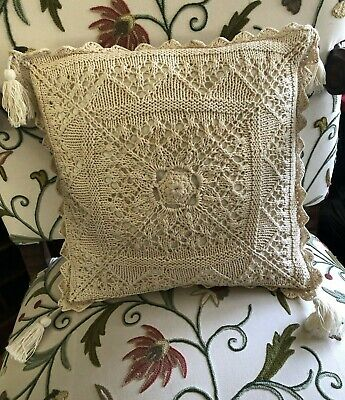 "£28.39 • Buy Vintage Hand Knit Cable Knit Crochet Cream Throw Pillow 16"" X 16"" Tassels"
