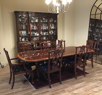 $9999 • Buy Drexel Heritage Mahogany Dining Room Set 8 Chairs Clawfoot Antique Breakfront