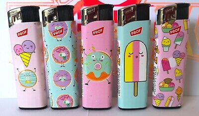 £5.55 • Buy 5 X PROF ELECTRONIC HAPPYFOOD Lighters Gas Lighter Refillable You Get ALL 5