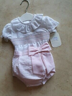 £18.99 • Buy Spanish Style Baby Girl's Smocked Romper Available In Size12m