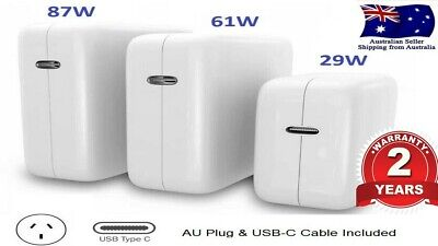AU33.88 • Buy 30W 61W 87W USB-C Power Adapter Charger Type-C For Apple Macbook Air Pro Laptops
