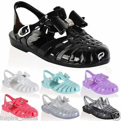 £7.95 • Buy Ladies Jelly Shoes Festival Strappy Diamante Bow Gladiator Sandals All Sizes New