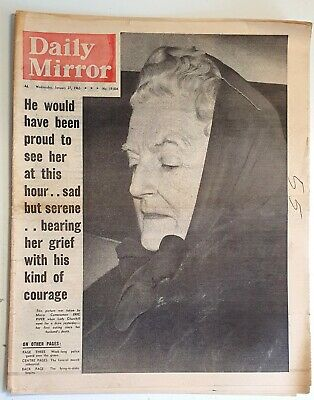 £8 • Buy Daily Mirror Newspaper - Wed January 27, 1965 - Winston Churchill's Funeral