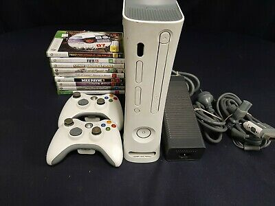 AU58 • Buy Xbox 360 Arcade Console, White, 2 Controllers, 10 Games, Cords, Tested HDD
